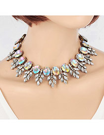 Vintage Multi-color Oval Shape Diamond Decorated Leaf Shape Design Necklace