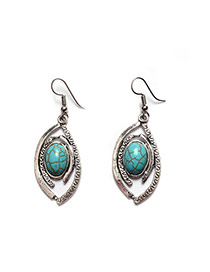 Fashion Green+silver Color Oval Shape Gemstone Decorated Simple Earrings