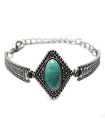 Fashion Green+silver Color Oval Shape Gemstone Decorated Simple Bracelet
