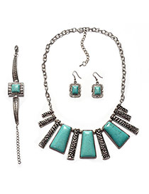 Retro Green+silver Color Square Shape Pendant Decorated Short Chain Jewelry Sets
