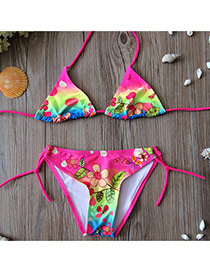 Cute Plum Red Butterfly&flower Pattern Decorated Simple Kids Swimwear