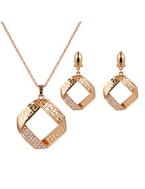 Delicate Gold Color Metal Square Shape Decorated Hollow Out Jewelry Sets