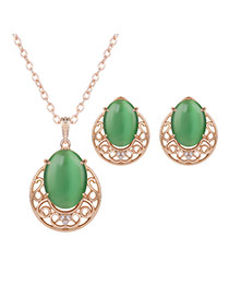 Elegant Gold Color+green Gemstone Decorated Long Chain Jewelry Sets