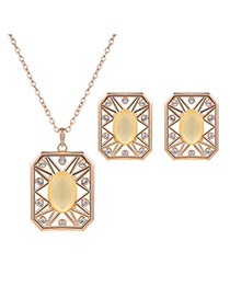 Elegant Gold Color +yellow Square Shape Pendant Decorated Long Chain Jewelry Sets