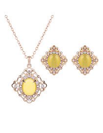 Elegant Gold Color +yellow Diamond Shape Decorated Simple Long Chain Jewelry Sets