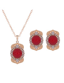 Elegant Gold Color+red Round Shape Gemstone Decorated Long Chain Jewelry Sets