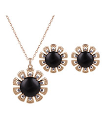 Fashion Gold Color +black Flower Shape Pendant Decorated Simple Jewelry Sets