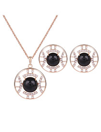 Fashion Gold Color +black Oval Shape Gemstone Decorated Hollow Out Jewelry Sets