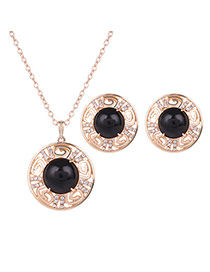 Fashion Gold Color+black Round Shape Gemstone Decorated Hollow Out Jewelry Sets