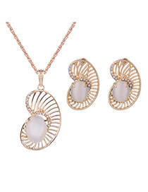 Lovely Gold Color+white Oval Shape Gemstone Decorated Hollow Out Jewelry Sets
