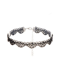 Vintage Black Pure Color Decorated Hollow Out Choker