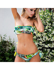 Sexy Green Banana Leaf Pattern Decorated Wipe Bosom Bikini