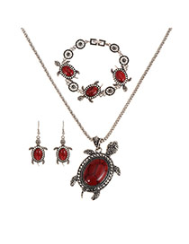 Vingtage Red Turtle Shape Pendant Decorated Simple Jewelry Sets