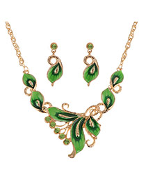Exquisite Green Butterfly Shape Decorated Simple Jewelry Sets