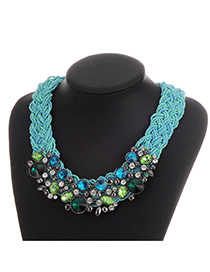 Luxury Blue Geometric Shape Decorated Hand-woven Chain Necklace