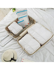 Fashion White Pure Color Decorated Net Yarn Storage Bag(6pcs)