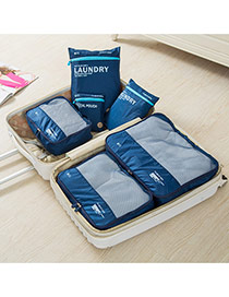 Fashion Navy Blue Letter Pattern Decorated Net Yarn Storage Bag(6pcs)