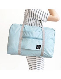 Fashion Blue Pure Color Decorated Folding Waterproof Hand Bags