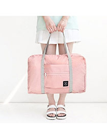 Fashion Pink Pure Color Decorated Folding Waterproof Hand Bags