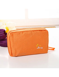 Fashion Orange Embroidery Pattern Decorated Pure Color Cosmetic Bag