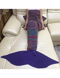 Fashion Navy Blue Scale Pattern Decorated Mermaid Shape Blanket