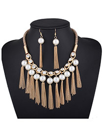 Elegant Gold Color Pearl&chain Pendant Decorated Tassel Jewelry Sets