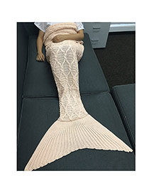 Fashion Pink Twist Stripe Pattern Decorated Pure Color Mermaid Shape Blanket