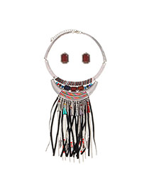 Exaggerated Multi-color Beads Tassel Pendant Decorated Short Chain Jewelry Sets
