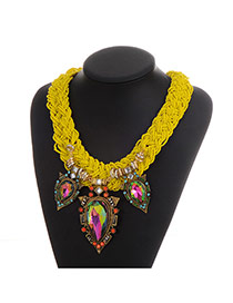 Elegant Yellow Waterdrop Gemstone Pendant Decorated Hand-woven Chain Necklace