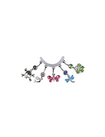 Cute Multi-color Multielement Pendant Decorated Simple Belly Button Ring