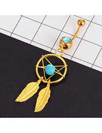 Vintage Blue Leaf Pendant Decorated Hollow Out Round Belly Button Ring