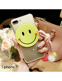 Cute Pink Smiling Face Shape Decorated Transparent Iphone7 Case