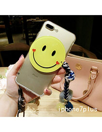 Cute Blue Smiling Face Shape Decorated Transparent Iphone7plus Case