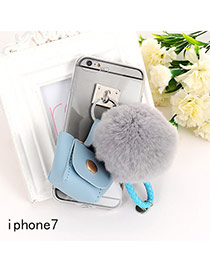 Sweet Blue Fuzzy Ball&bag Shape Decorated Transparent Iphone7 Case