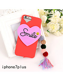 Sweet Red Letter&heart Shape Decorated Tassel Pure Color Iphone7plus Case