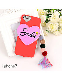 Sweet Red Letter&heart Shape Decorated Tassel Pure Color Iphone7 Case