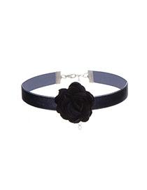 Sweet Dark Blue Flower Decorated Simple Pure Color Chocker