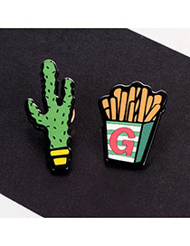Cute Multi-color Cactus&french Fries Shape Decorated Simple Brooch
