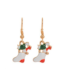 Cute Multi-color Christmas Sock Pendant Decorated Simple Earring