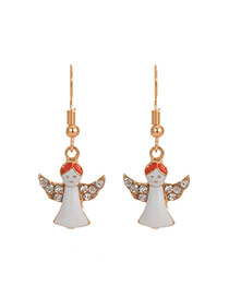 Cute White Christmas Angel Pendant Decorated Simple Earring