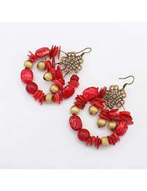 Vintage Red Multielement Decorated Hollow Out Round Earring