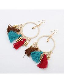 Vintage Multi-color Tassel Pendant Decorated Roun Shape Earring