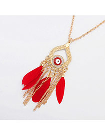 Fashion Red Feather&metal Chain Pendant Decorated Simple Necklace