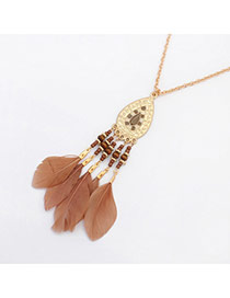 Fashion Bronze Feather&drop Water Shape Pendant Decorated Simple Necklace