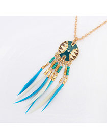 Fashion Light Blue Feather&round Shape Pendant Decorated Simple Necklace