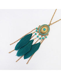 Fashion Green Feather&long Tassel Pendant Decorated Simple Necklace