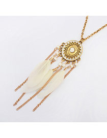 Fashion White Feather&long Tassel Pendant Decorated Simple Necklace