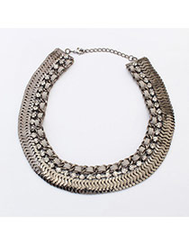 Retro Black+gray Diamond Decorated Short Chain Collar Necklace