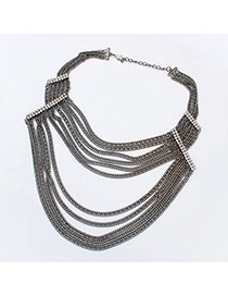 Exaggerate Black Diamond Decorated Multilayer Short Chain Necklace
