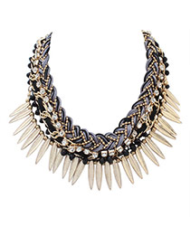 Personality Black Leaf&diamond Decorated Hand-woven Short Chain Necklace